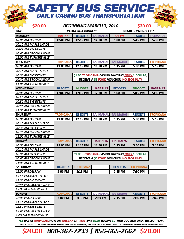 Casino bus schedule 11